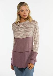Mauve Colorblock Hacci Top