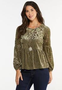 Plus Size Burnout Velvet Peplum Top