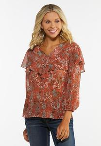 Plus Size Ruffled Floral Poet Top