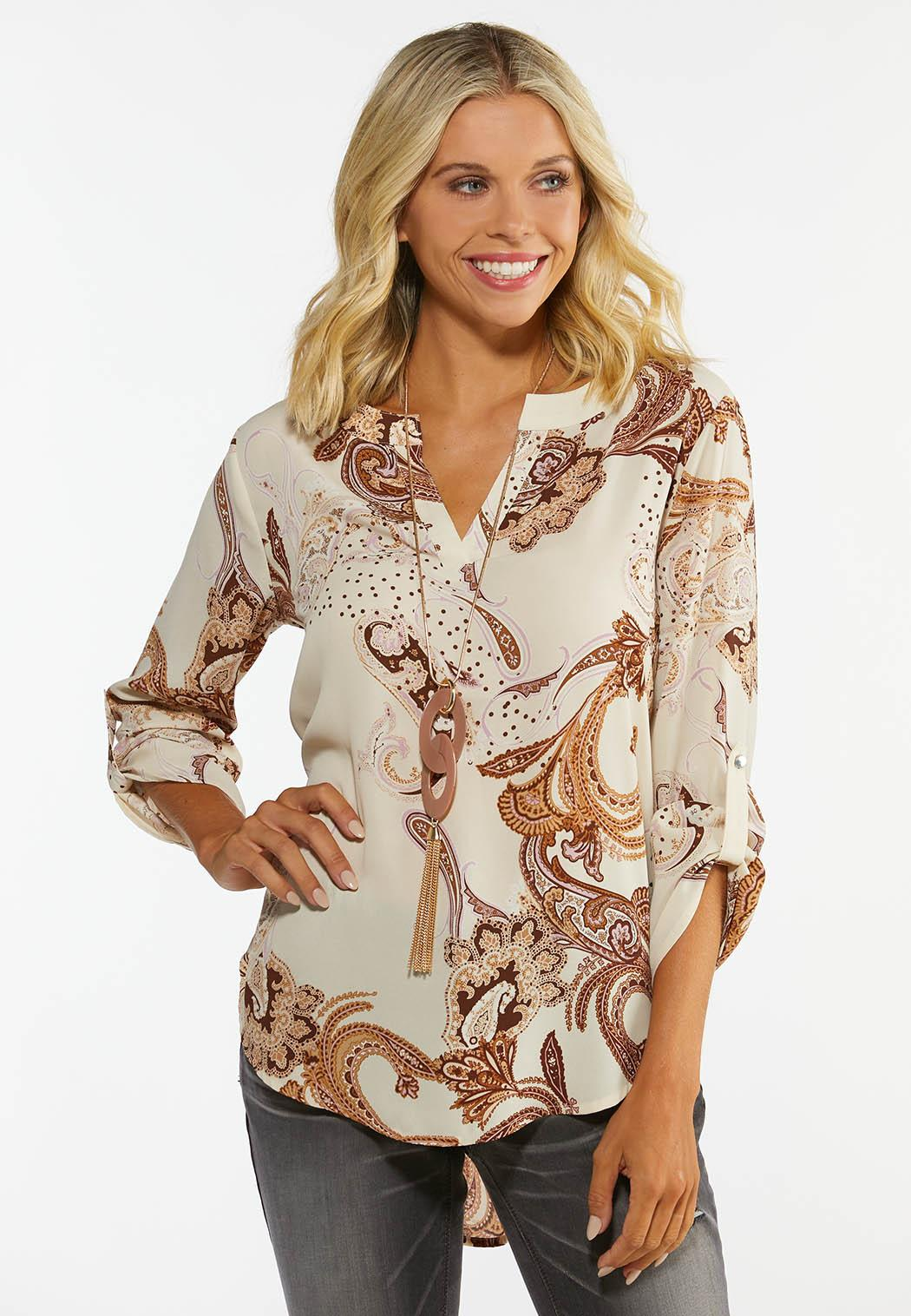 Plus Size Paisley High-Low Top