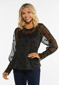 Plus Size Dotted Flocked Top