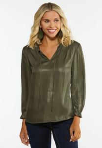 Plus Size Faux Leather Poet Top