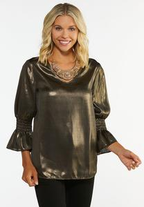 Plus Size Gold Metallic Top