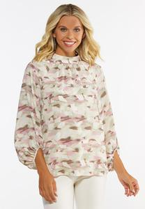 Plus Size Blush Geo Top