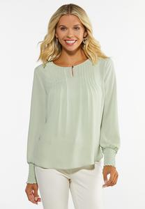 Sage Pintucked Top
