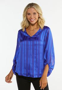 Plus Size Shadow Stripe Top