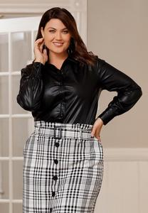 Plus Size Faux Leather Shirt