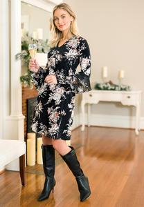 Plus Size Ruffled Floral Swing Dress