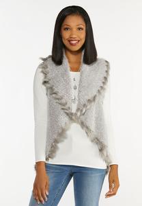Plus Size Wispy Faux Fur Vest