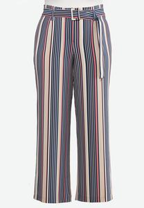 Plus Size Stripe Belted Wide Leg Pants