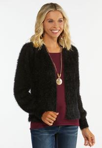 Fuzzy Black Cardigan Sweater