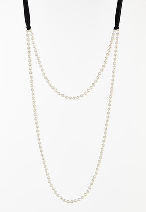 Layered Velvet Pearl Necklace