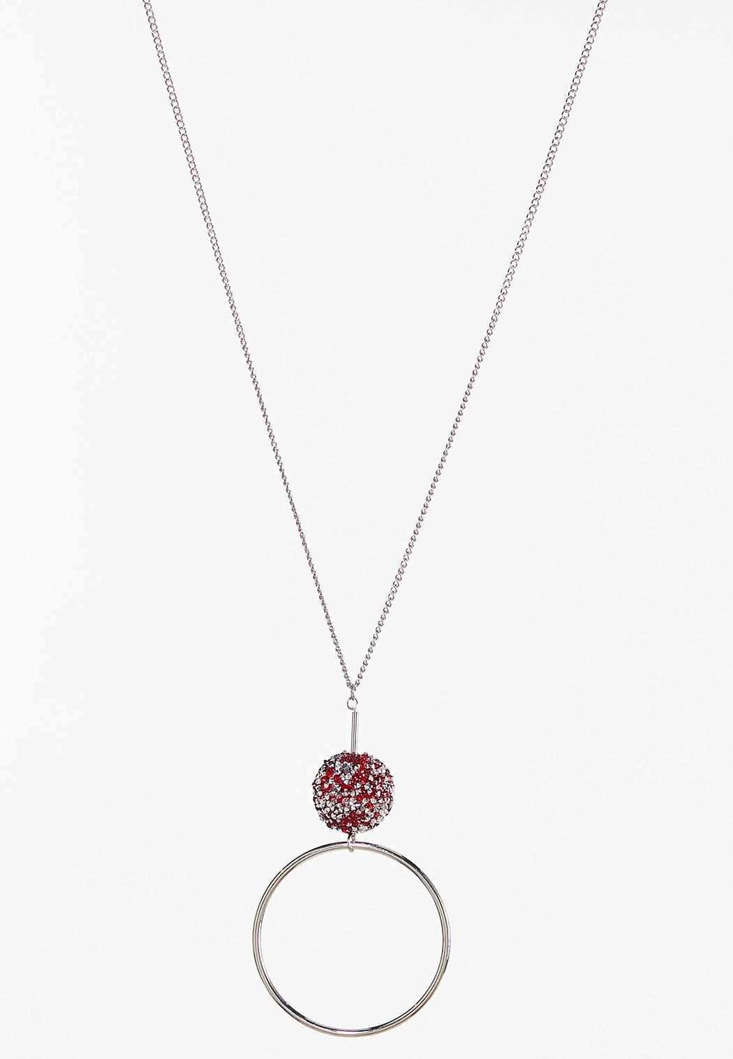 Red Druzy Pendant Necklace