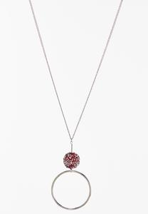 Red Druzy Pendant Necklace