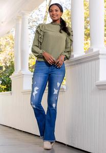 Plus Size Distressed Flare Leg Jeans