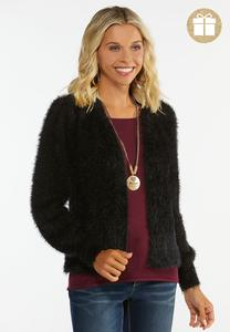 Plus Size Fuzzy Black Cardigan Sweater
