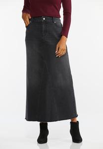 Black Denim Maxi Skirt