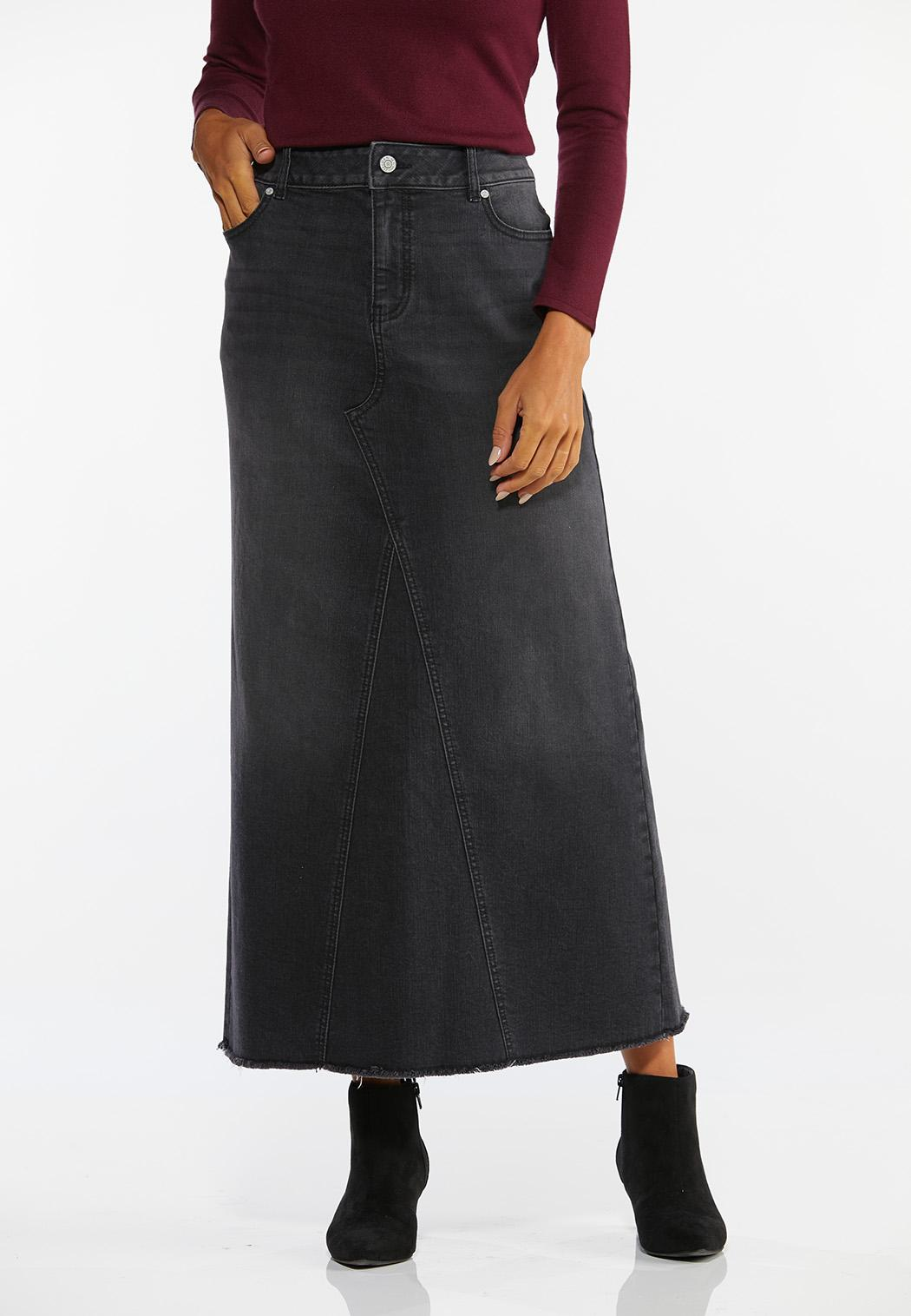 Plus Size Black Denim Maxi Skirt