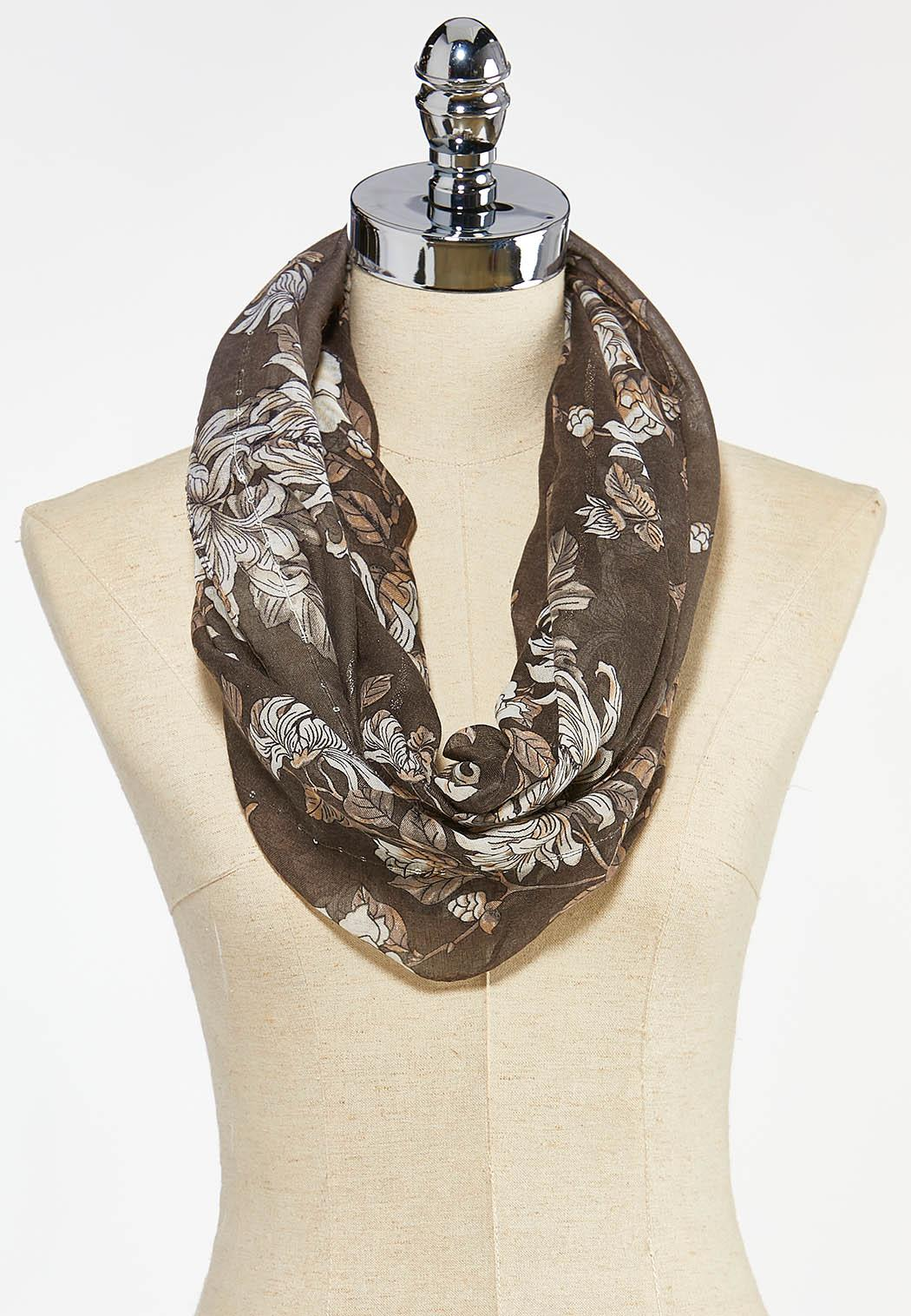 Floral Sequined Infinity Scarf