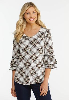 Plus Size Plaid Tiered Sleeve Top