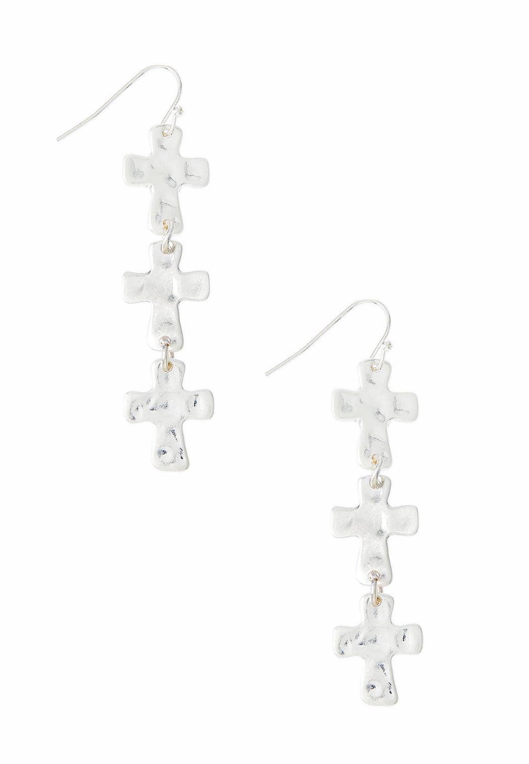 Hammered Linear Cross Earrings