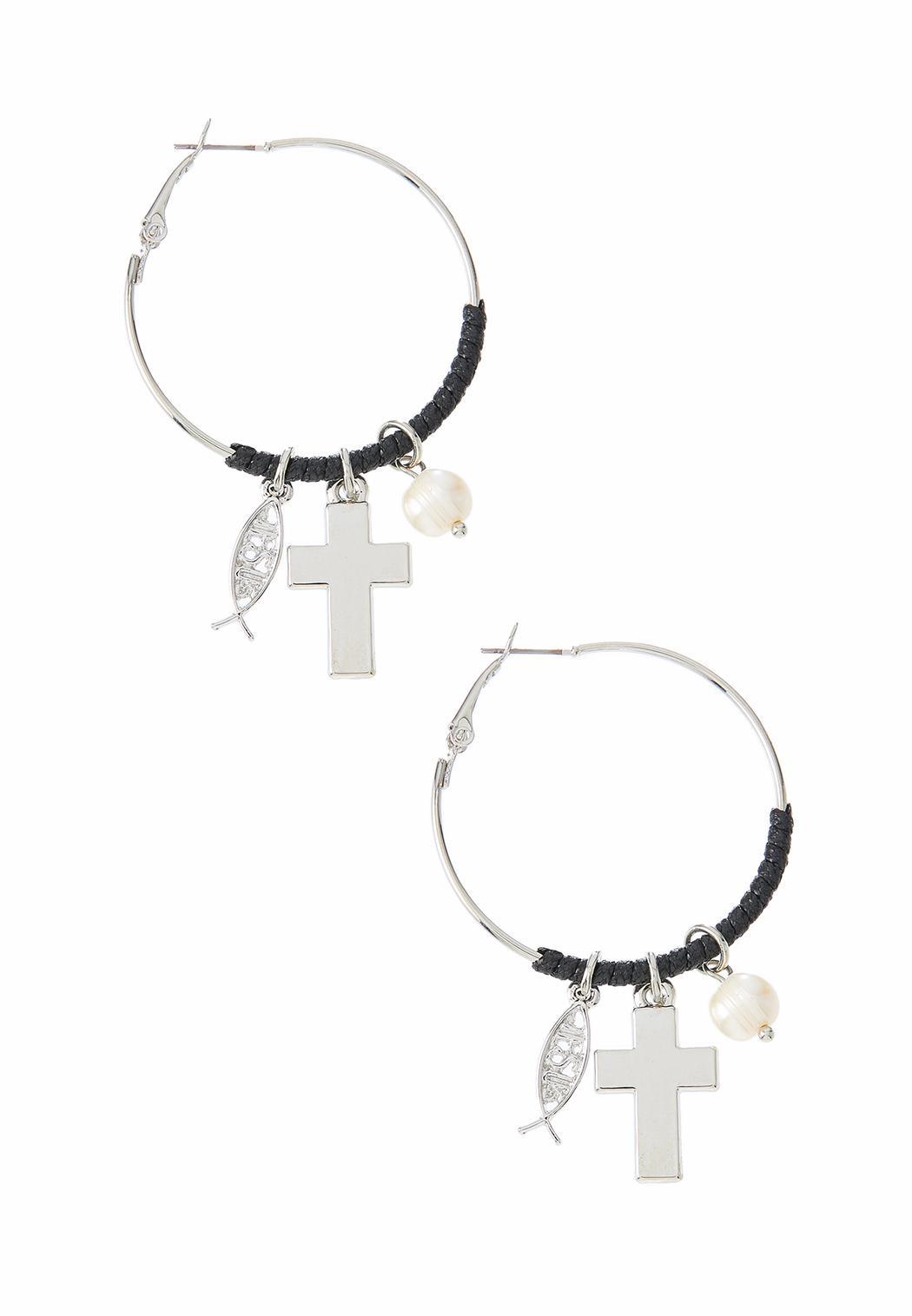 Inspirational Charm Hoop Earrings