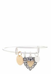 Two-Toned Heart Charm Bracelet