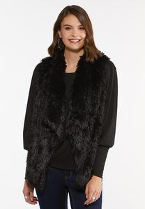 Plus Size Shaggy Draped Vest