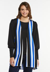 Plus Size Striped Hacci Vest