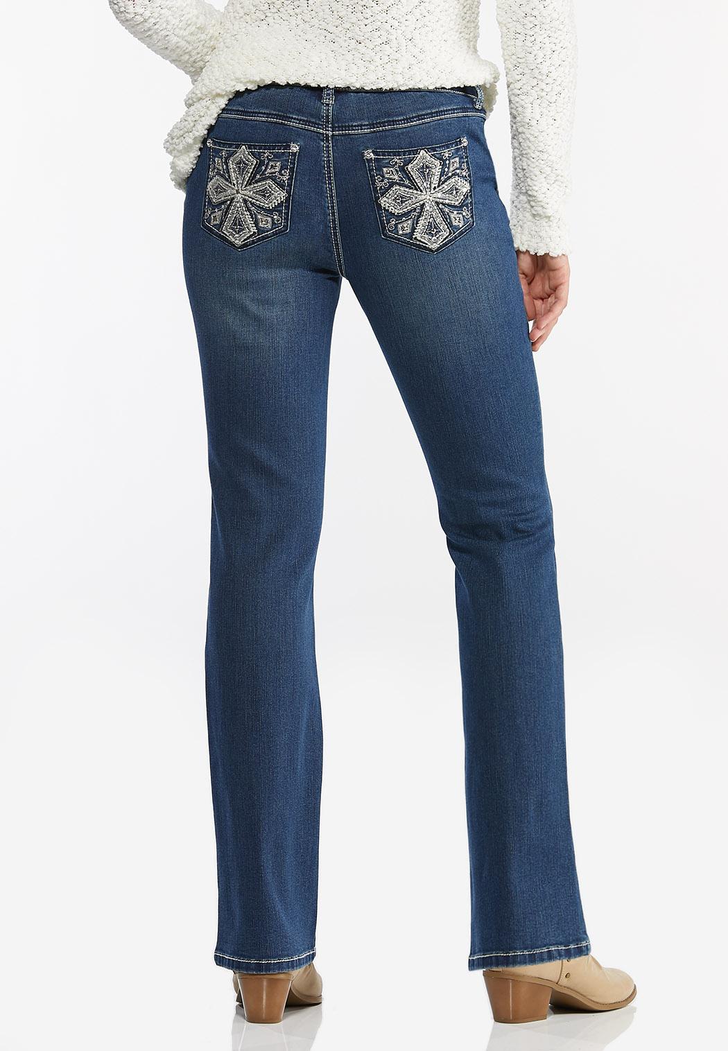 Rhinestone Cross Embellished Jeans