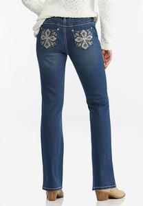 Rhinestone Cross Embellished Jeans