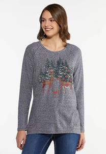 Holiday Plaid Deer Top
