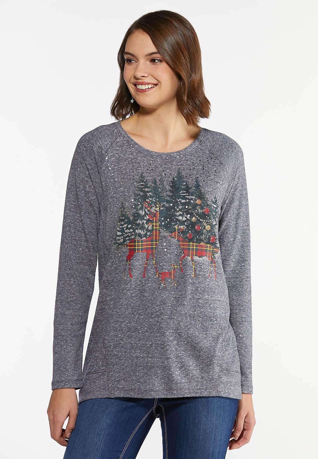 Plus Size Holiday Plaid Deer Top