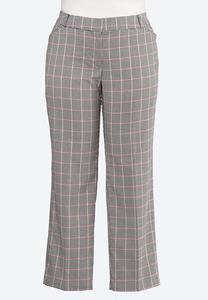 Plus Size Pink Plaid Trouser Pants