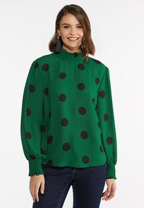 Plus Size Dotted Mock Neck Top