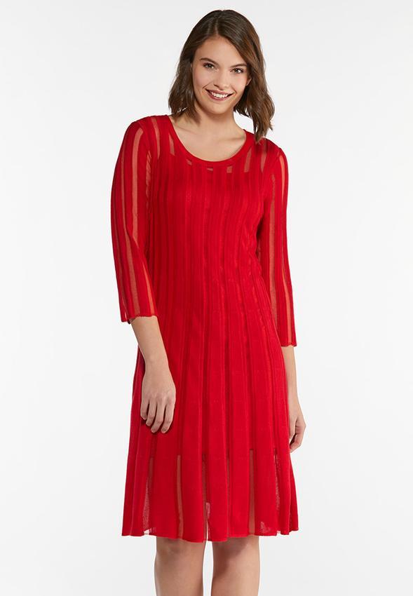 Plus Size Illusion Stripe Sweater Dress