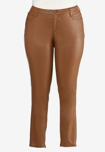 Plus Size Caramel Coated Jeans