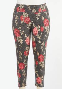 Plus Size Rose Floral Leggings
