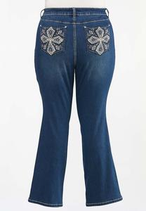 Plus Size Rhinestone Cross Embellished Jeans