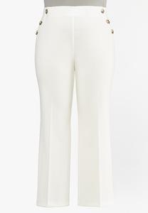 Plus Size Solid Sailor Trouser Pants