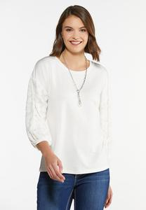 Plus Size French Terry Spotted Sleeve Top