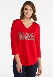 Plus Size Holiday Sequin Top