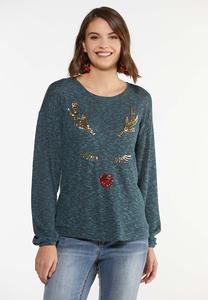 Plus Size Sequin Reindeer Top