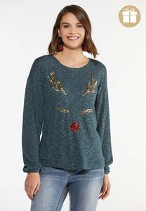 Plus Size Sequin Reindeer Top