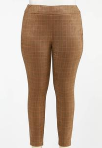 Plus Size Plaid Faux Suede Leggings