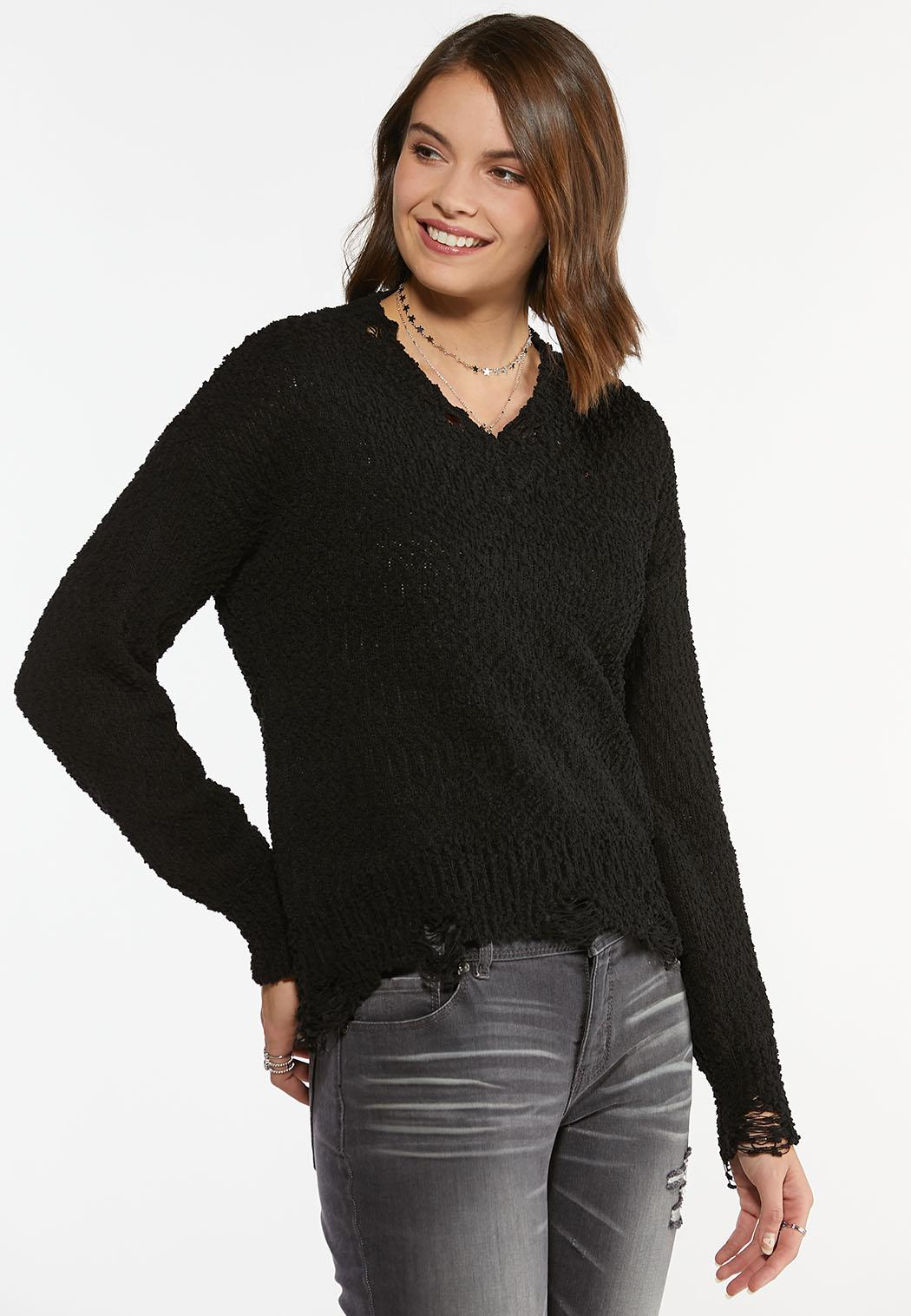 Plus Size Distressed Pullover Sweater