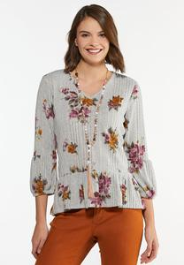 Plus Size Romantic Floral Peplum Top