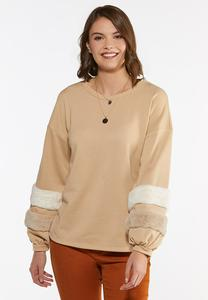 Plus Size Fur Trim Sweatshirt