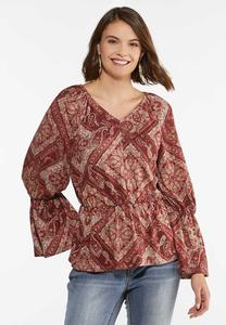 Plus Size Paisley Peplum Top