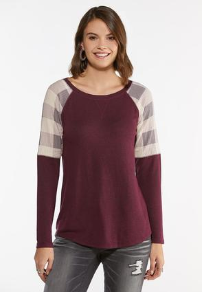 Check Sleeve Raglan Top